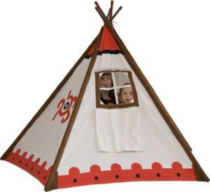 Rückansicht des Tipi Indianerzelt von 2gether Teepee mit einem verschließbarem Fenster