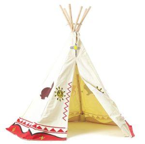 Dieses offene Indianerzelt Kinderzimmer besitzt die Farben rot und weiß mit verschiedenen Tieren und Symbolen als Muster