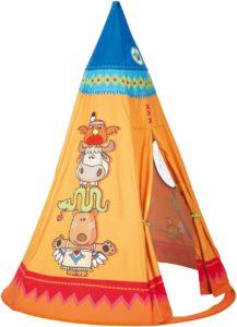 Das Spielzelt Tipi von HABA hat eine gelbliche Farbe und ein paar Tiere drauf.