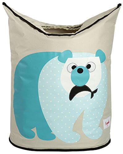 Wäschekorb Polarbär in türkis