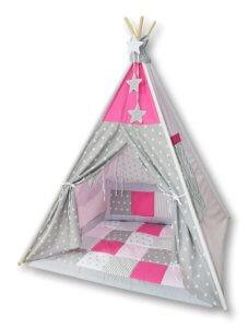 Amilian Tipi Spielzelt in Grau/Pink